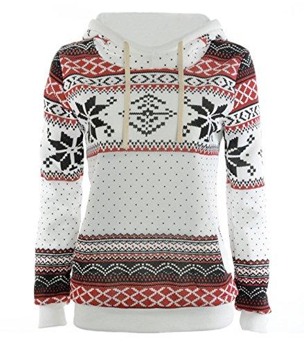 Frauen-Winter-warme Hoodie Sweatshirt Nette Weihnachtspullover Sweater (Asian M ( EU S  ), weiß)