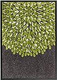 Taracarpet Schöner Wohnen Broadway in/Outdoor - Rutschhemmend Fußmatte Sauberlaufmatte Blume grün Maschinenwäsche bis 30°C 070x110 cm
