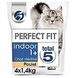 PERFECT FIT INDOOR STERILISE - Croquettes au poulet  pour chat d'intérieur 1,4kg - lot de 4 (5,6kg)