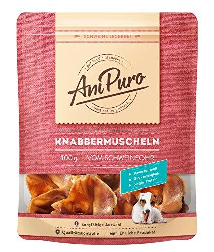 AniPuro Knabbermuscheln - Ohrmuscheln vom Schwein für Hunde, 400g - Made in Germany