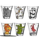Leonardo Kinderbecher BAMBINI 215 ml Set/6 farbig sortiert mit 6 Dekokaufhaus Untersetzern, Saftbecher Wasserglas mit Motiv