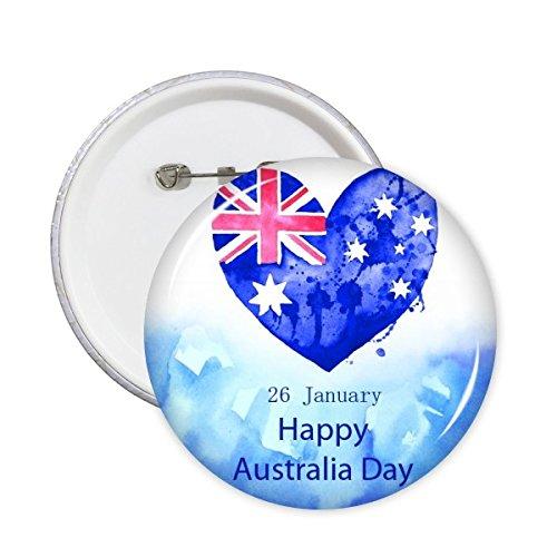 n Flavor glücklich Australia Day Herz-Form-Flagge Illustration Runde Stifte Abzeichen-Knopf Kleidung Dekoration 5Pcs XXL ()