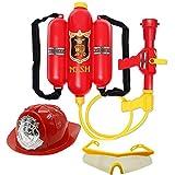 Feuerwehrmann -Hut und Feuerwehrmann -Rucksack-Wasser-Gewehr-Druck-Wasser Gun Kinder Rollenspiele Spielzeug für Kinder Geschenke
