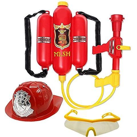 Feuerwehrmann -Hut und Feuerwehrmann -Rucksack-Wasser-Gewehr-Druck-Wasser Gun Kinder Rollenspiele Spielzeug für Kinder