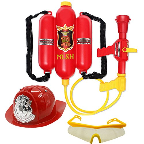 Fireman Hat and Firefighter Backpack Water Gun Pressure Water Gun Children Role Play Toys for Kids Gifts