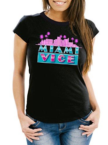 Certified Freak Miami Vice Skyline T-Shirt Girls Black XXL
