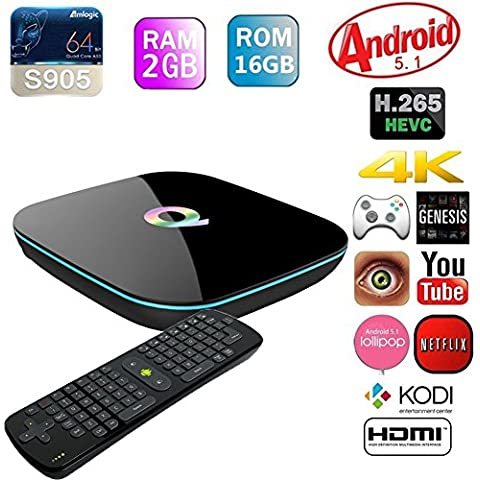 Vcan Q-Box Android TV Box Amlogic S905 Quad Core Streaming Media Player 2G+16G Memory Support Dual Band Wifi Bluetooth H.265 Dolby 1000M LAN 4K 3D Media Player with RC11 Air Mouse