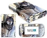Skins4u Wii U Aufkleber Skin Design Sticker Set inklusive Wii U Tablet Controller Skins Motiv Carbon Struktur Wolf Schneewolf