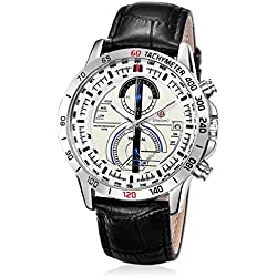 Elenxs Men's Leather Strap Sports Watch Chron Dial Quartz Movement Wrist Watch white
