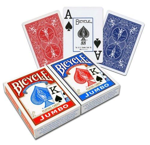 Us playing card co. 1004949 carte da gioco bicycle jumbo, 2 pacchi (blu e rosso)