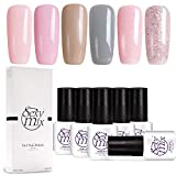 Sexy Mix UV Nagellack Set, Nail Gel Polish Rosa und Grau Nagelgel,geldesign Maniküre Gel Polish 6x7ml
