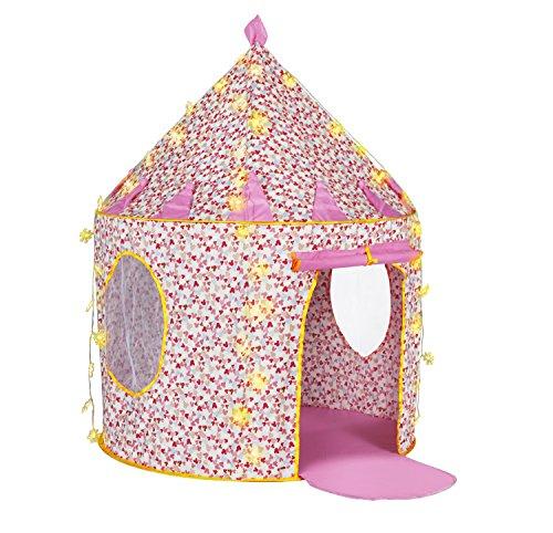 Sonyabecca Baumwolle Princess Castle Zelt Pop Up Zelt Playhouse mit 5 Meter batteriebetrieben Dekoration im Innenbereich Lichterkette 50 LED Schneeflocken lightiing für Mädchen (Baumwolle Playhouse)