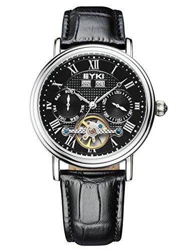 alienwork-automatic-watch-self-winding-multi-function-mechanical-tourbilon-style-stylish-leather-bla
