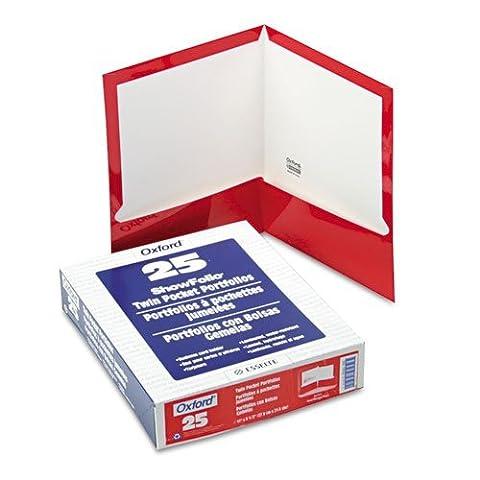 Laminated Two-Pocket Portfolios, 100 Sheet Capacity, Red, 25/Box (ESS51711) by Oxford