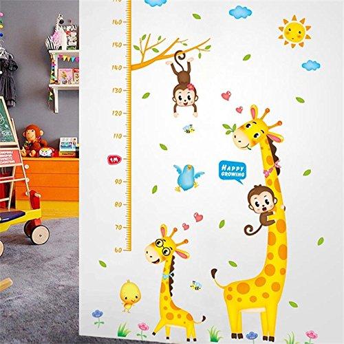 Weaeo Cartoon Messen Wand Aufkleber Für Kinder Zimmer Giraffe Affe Höhe Chart Herrscher Aufkleber Kinderzimmer Home Decor Wachstum Wall Art Poster (Wachstum Giraffe Wandtattoo Chart)