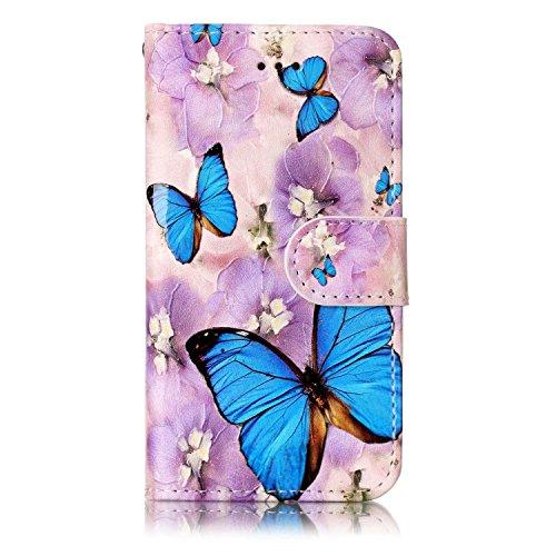 iPod Touch 5 / Touch 6 Hülle, Chreey [Geprägte Muster] Kratzfestes Flip Case Ledertasche Magnet Klapp Etui Handyhülle [Blauer Schmetterling] + Brieftasche Kartenfächer Ständer