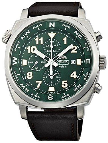 Orient Sporty Chronograph Quarz 100m Pilot Uhr Grün tt17004F