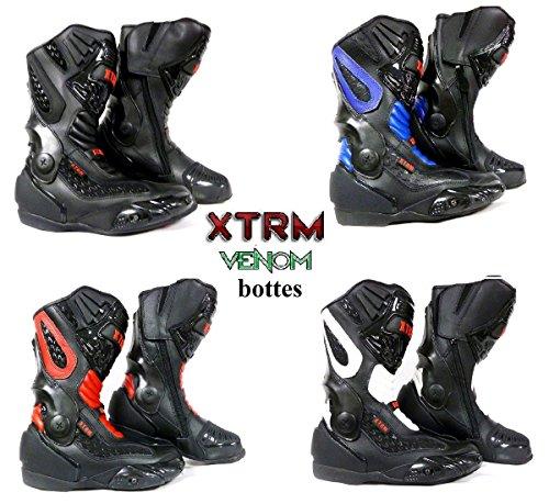 bottes de moto XTRM VENOM sport moto armure course tourisme bottes toutes couleurs noir