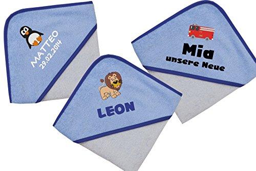 Wolimbo Kapuzenbadetuch mit Ihrem Wunsch-Namen und Wunsch-Motiv - Format: 100x100cm - Das individuelle und kuschelig weiche Badehandtuch für Mädchen und Jungs - Farbe: hellblau blau - Wählen Sie Ihr Wunsch-Motiv