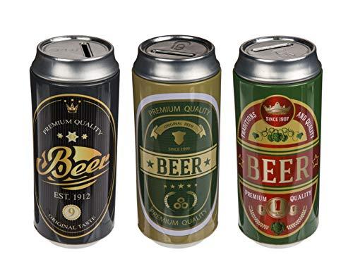 MC Trend 3er Set Metall-Spardose in Form Einer Bierdose Geld-Geschenk-Idee originell Beer Büchse Geburtstag Vatertag Deko-Idee