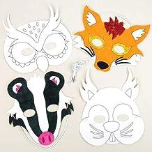 Baker Ross Maschere Animali del Bosco da Colorare, Perfette per Creazioni Fai da Te e Carnevale, Decorazioni e Lavoretti Artistici per Bambini (Confezione da 6)