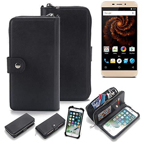 K-S-Trade 2in1 Handyhülle für Allview X4 Soul Mini Schutzhülle & Portemonnee Schutzhülle Tasche Handytasche Case Etui Geldbörse Wallet Bookstyle Hülle schwarz (1x)