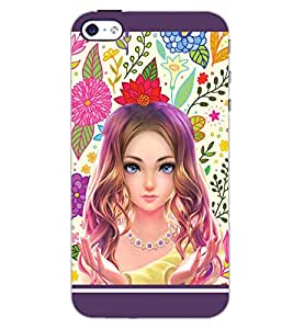 PrintDhaba CUTE GIRL D-6322 Back Case Cover for APPLE IPHONE 5 (Multi-Coloured)