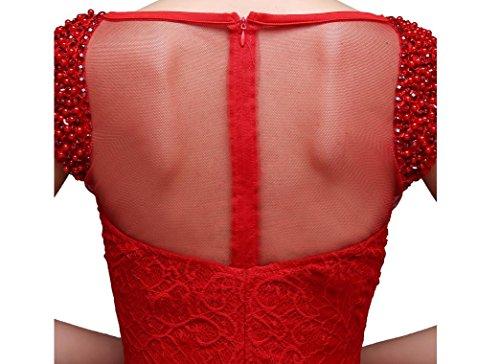 Beauty-Emily Kurzarm Transparent-Schlitz-Zurück-Paillette Meerjungfrau Abendkleider Pink