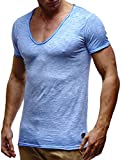 LEIF NELSON Herren T-Shirt V-Neck V-Ausschnitt Kurzarm-Shirt Top Basic Shirt Crew Neck Vintage Sweatshirt Sweater LN6280-1 S-XXL; Größe XXL, Verw. Blau