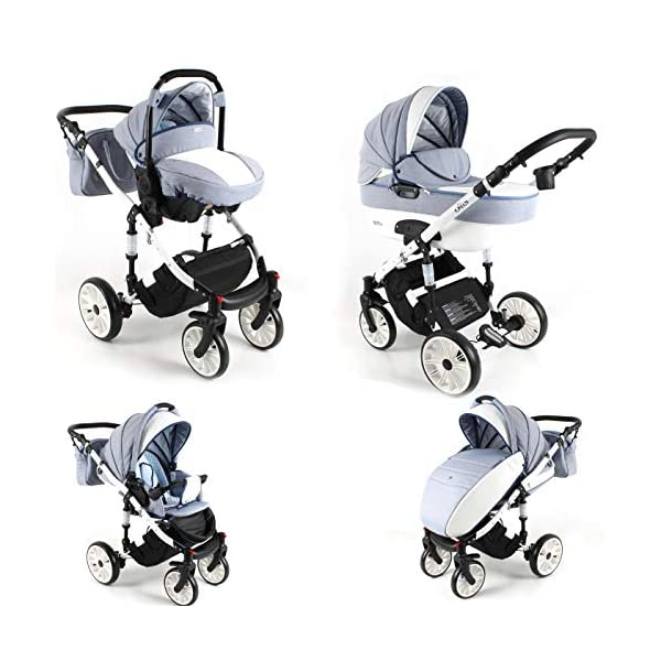 Lux4Kids Pram Stroller 3in1 2in1 Isofix Colour Selection Buggy Car seat Owe White Mint OW-04 4in1 car seat +Isofix Lux4Kids Lux4Kids Owe 3in1 or 2in1 pushchair. You have the choice whether you need a car seat (baby seat certified according to ECE R 44/04 or not). Of course the car is robust, safe and durable Certificate EN 1888:2004, you can also choose our Owe with Isofix. The baby bath has not only ventilation windows for the summer but also a weather footmuff and a lockable rocker function. The push handle adapts to your size and not vice versa, the entire frame is made of a special aluminium alloy with a patented folding mechanism. 3