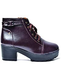 STREETSTYLESTORE Women's Boots (Brown, Boot) (Synthetic Leather) + PU)