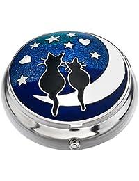 """J R Schmuck 427843 Sea Gems in Geschenkbox-Katzen auf Dem Mond """"Love"""", Versilbert, Pillendose, 9011"""