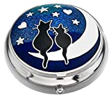 Pill Box in a Cats on Moon Design. by Sea Gems presented by Celtic Glass Designs