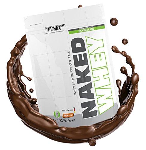 Naked Whey Protein   Eiweiß-Pulver für Muskelaufbau & Abnehmen   Low Carb Protein-Pulver Shake mit Laktase – Aspartamfrei mit Aminosäuren (BCAA)   TNT Premium Qualität aus Deutschland – 1kg - SCHOKOLADE