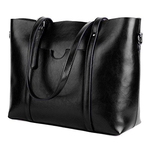 Ausverkauf-Yaluxe Damen Vintage Stil weich Leder Arbeit Shopper Gross Schultertasche schwarz