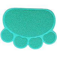 Haustier Katzenstreu Box Mat,KINGCOO Wasserdichte Elastische PVC Paw Shaped Katzentoilette Vorleger Wurf Trapper Decke Mat Für Katzen Hund,45 x 60CM (Blau)