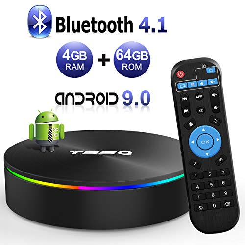 Android TV Box, Android Box 9.0 S905X2 Quad-Core Cortex-A53 with 4GB RAM 64GB ROM Support 2.4G/5G WiFi/H.265 Decoding/4K Full HD Output/ HDMI3.0/100M Ethernet/ Bluetooth 4.1 Smart TV Box