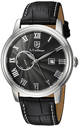 S. Coifman Men's 'Heritage' Quartz Stainless Steel and Leather Casual Watch, Color:Black (Model: SC0387)