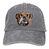 Osmykqe Bulldog with Sunglasses Denim Hat Adjustable Womens Mini Baseball Caps Y020030