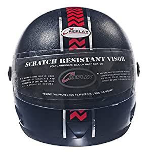 Replay Full Face Helmet Elex with Clear Visor (Matt Black with Red strip, M)