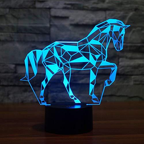 3D Illusion Lampe LED Nachtlicht Lampen, KidsPark Optische Pferd Nachtlichter Tischlampe Kinder Nachttischlampe 7 Farben ändern Schreibtischlampe Mit USB-Kabel