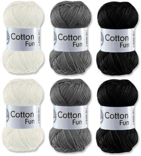 Gründl Cotton Fun Häkelgarn Schulgarn 100{622bdcc07eba639f0ec00da9aabc0b9ad16a3250b82261b1060e63939a32e1d7} Baumwolle SET 6 Schwarz, Grau, Weiß