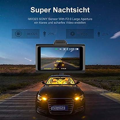 WiMiUS-Dashcam-Dual-Auto-Kamera-Super-Nachtsicht-Vorne-1080P-Hinten-720P-Full-HD-Auto-Kamera-mit-3-IPS-Bildschirm170Weitwinkelobjektiv-G-Sensor-WDR-Loop-Aufnahme-Parkmonitor