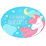 Türschild mit Namen - Hier träumt Anastasia - und Einhorn-Motiv für Mädchen | Kinderzimmer-Schild