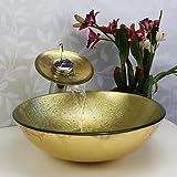 Sunny key | Gehärtetes Glas Becken Badezimmer Waschbecken Sets, Glaswaschbecken, Wasserfall Wasserhahn, Installation und Entwässerung