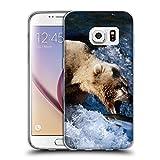 Just Phone Cases Schutz Hülle TPU Case Schutzhülle Silikon Tasche Dünn Transparent // V00004080 Bär cathes Fisch im Wasser // Samsung Galaxy S7 (Not Fit S7 EDGE)