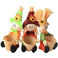 AIPINQI Scarecrow Fall Decor, 3 Pack Small Woven Basket Fall Harvest Scarecrow Decor Halloween Scarecrow Decorations for Garden, Home, School, Yard, Porch, Thanksgiving Decor
