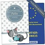 EU-Heimtierausweis Hülle Lovely Kittens Tierausweis Schutzhülle schöne Geschenkidee personalisierbar mit Namen und Geburtsdatum (Felix, EU-Heimtierausweishülle personalisiert)