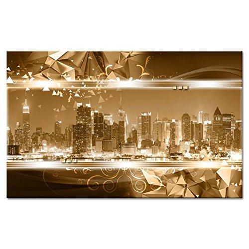 CITYLIGHT Tableau déco toile imprimé 80x50 cm jaune new-york