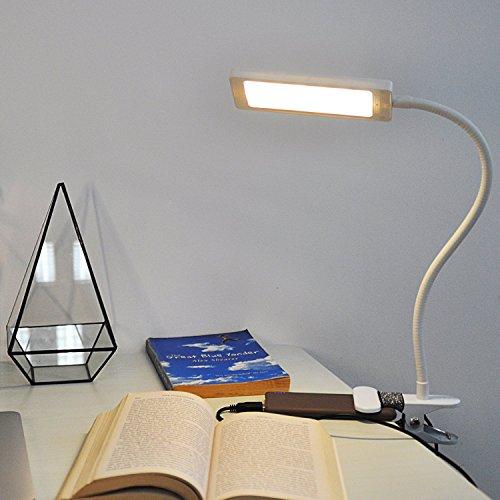 Eplze Simple Soin des Yeux Lampe de Bureau LED Dimmable 2 Niveaux de Luminosité avec Interrupteur Clip On Livre de Lecture de Lumière Plug and Play